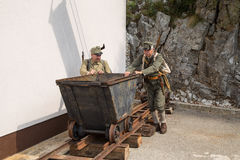 Austro-Hungarian soldiers push trolley Royalty Free Stock Image