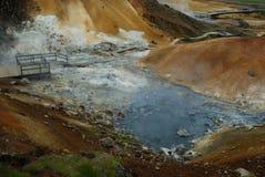 Austurengjar。在Krysuvik,冰岛附近的Geotermal地区 免版税图库摄影