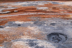 Austurengjar. Geotermal område nära Krysuvik, Island Arkivbilder