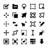Auswahl, Cursor, bestimmt die Größe neu, bewegt sich, Kontrollen und Navigations-Pfeil-Vektor-Ikonen 1 Stockfotografie