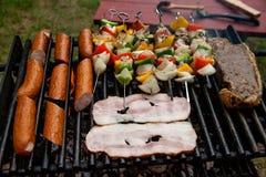 Auswahl des Fleisches grillend über den Kohlen mit würzigen Würsten, Speck und Hühneraufsteckspindeln Stockfotografie