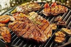 Auswahl des Fleisches und des Gemüses auf einem Grill lizenzfreies stockfoto