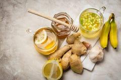 Auswahl des Lebensmittels gegen Grippe Stockbild