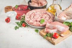 Auswahl des rohen Fleisches Stockbild