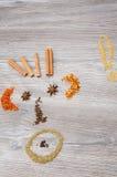 Auswahl von Gewürzen zum Teller Stockbild
