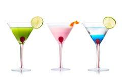 Auswahl von Martini-Cocktails Stockfotos