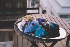 Auswahl von schönen Parteimasken in der venetianischen Art Stockfoto