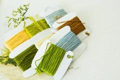 Auswahl von Threads für Stickerei in den natürlichen Farben Lizenzfreies Stockbild