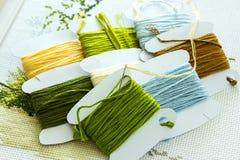 Auswahl von Threads für Stickerei in den natürlichen Farben Lizenzfreie Stockbilder