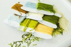 Auswahl von Threads für Stickerei in den natürlichen Farben Lizenzfreies Stockfoto