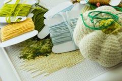 Auswahl von Threads für Stickerei und ein Kissen für Nadeln Stockfotos