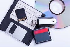 Auswahl von verschiedenen Computerspeichergeräten Lizenzfreies Stockfoto