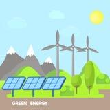 Auswechselbares eco Energiekonzept Grüne Landschaft mit Bäumen und Bergen Windenergieillustration lizenzfreie abbildung