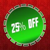 Ausweis des Grüns 25 PROZENT HERUNTERGESETZT auf rotem Musterhintergrund Stockfotos