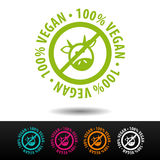 100% Ausweis des strengen Vegetariers, Logo, Ikone Flache Illustration auf weißem Hintergrund Stockfotografie