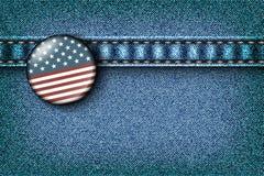 Ausweis mit der amerikanischen Flagge Stockbild