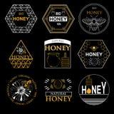 Ausweise und Aufkleberdesign für Bienendesign Stockfoto