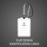 Ausweiskarte mit einem Fotodurchlauf in der flachen Art Stockfotos