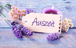 Auszeit- Relaxation - rustic floral background Stock Photo