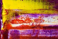 Auszug gemaltes Segeltuch Ölfarben auf einer Palette Stockfotos