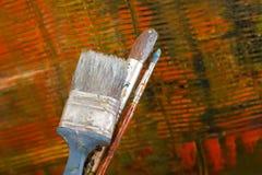 Auszug gemaltes Segeltuch Ölfarben auf einer Palette Lizenzfreies Stockbild
