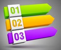 Auszug nummerierte Fahnen 3D Lizenzfreie Stockbilder