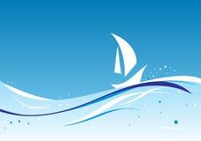 Auszug wellenförmig mit Schattenbild des Segelboots Lizenzfreies Stockfoto