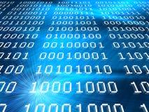 Auszugsblauhintergrund der binären Codes Stockfotografie