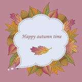 Aut leaves collect-08. Сard template.Vector frame with hand drawn colorful autumn leaves Stock Images