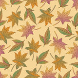 Aut leaves collect-03. Vector hand drawn seamless pattern with colorful autumn leaves Royalty Free Stock Photo
