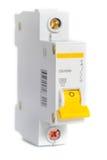 Autômato do disjuntor com interruptor amarelo do disjuntor imagens de stock royalty free