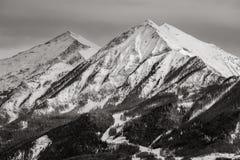 Autane minuta e grande alza nell'inverno, le alpi, Francia Fotografia Stock