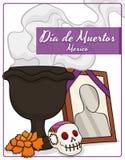 Autel mexicain traditionnel avec des offres à célébrer et x22 ; Dia de Muertos et x22 ; , Illustration de vecteur Image libre de droits
