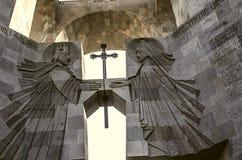Autel sous l'entrée de ciel ouvert au monastère Etchmiadzin Images libres de droits