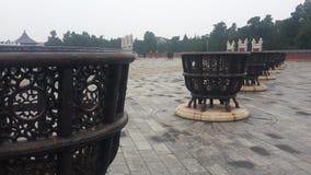 Autels en métal dans le temple du Ciel dans Pékin, Chine images libres de droits