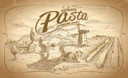 Autentic pasta label with rural landscape backdrop Royalty Free Stock Images
