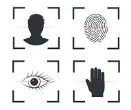 Autenticação da identidade Reconhecimento de cara, impressão digital, retina, mão ilustração royalty free