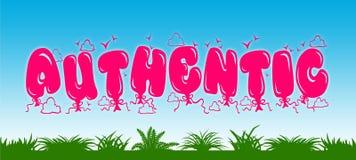 AUTENTICO scritto con i palloni rosa sul fondo dell'erba verde e del cielo blu Immagini Stock Libere da Diritti
