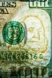 Autentificación del billete de banco cientos dólares en liquidación Filigranas en cientos billetes de dólar fotografía de archivo libre de regalías