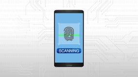 Autentificación a través de la huella dactilar, animación móvil del concepto de la seguridad