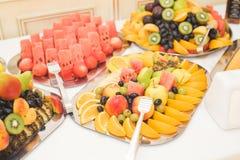 Autentisk buffé, blandade nya frukter, bär och citrus Förberedelse för idérik meny för design Arkivfoto