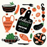 Autentisk grekisk kokkonst Utdragen illustration för rolig hand med matbeståndsdelar vektor illustrationer