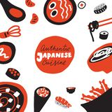 Autentisk japansk kokkonst Redigerbar vektorillustration Hand tecknad mat klotter Gjort i vektor stock illustrationer