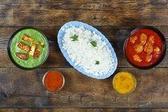 Autentisk mat, indier, mat, paneer, curry, höna, ris, kokkonst, bakgrund, lunch, buffé, bästa sikt, kopieringsutrymme royaltyfri fotografi