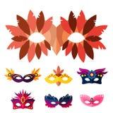 Autentiska handgjorda venetian målade karnevalframsidamaskeringar festar illustrationen för garneringmaskeradvektorn Arkivbild