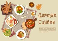Autentiska tyska kötträtter sänker symbolen stock illustrationer