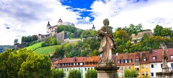 Autentyczni piękni miasteczka Niemcy, Wurzburg -, Bavaria Zdjęcia Royalty Free