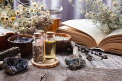 Autentyczni wewnętrzni szczegóły, szkło ziołowy rea, homeopatyczny traktowanie na nieociosanego drewnianego tła odgórnym widoku,  zdjęcia royalty free