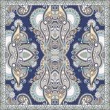 Autentyczny jedwabniczy szyi chustki lub szalika kwadrata wzoru projekt w u ilustracja wektor