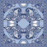 Autentyczny jedwabniczy szyi chustki lub szalika kwadrata wzoru projekt w u royalty ilustracja